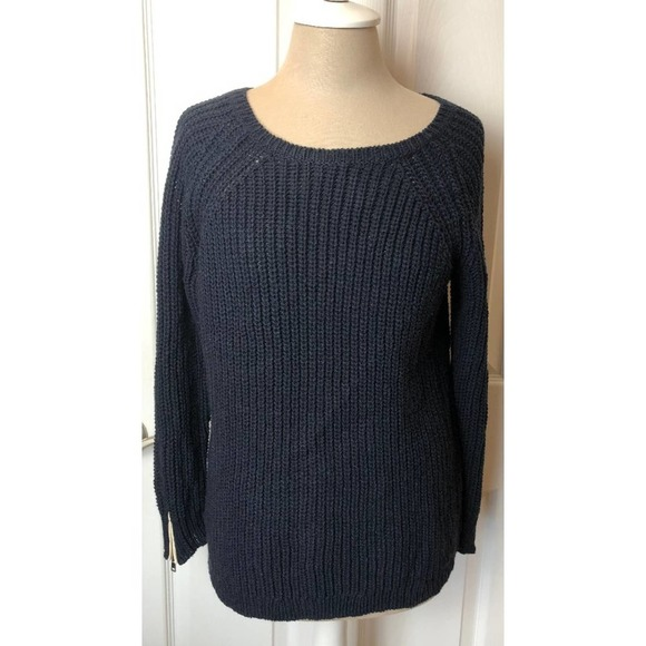 Ann Taylor Navy Knit Sweater Pullover Wool Blend